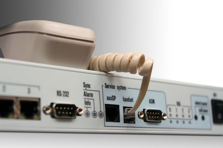 Phone socket on the network device. Isolated. Stock Photo
