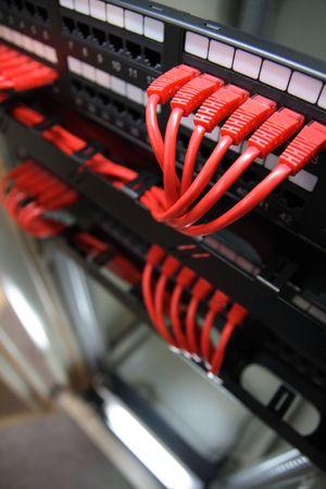 Network equipment in an industrial rack.