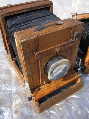 Antique wooden cams on fleamarket. Stock Photo