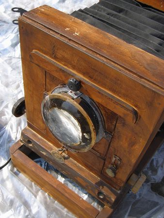 Antique wooden camera on fleamarket.
