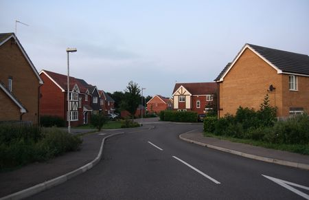 English village in the early summer morning. Stock Photo