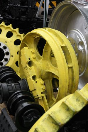Rough painted mechanical spare parts. Stock Photo