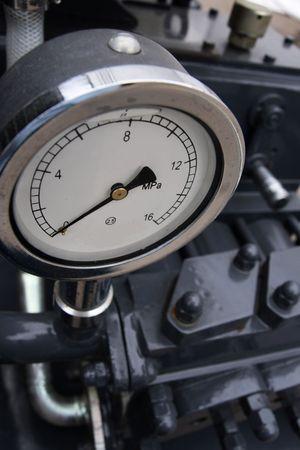 Manometer on boring mashine.  Stock Photo