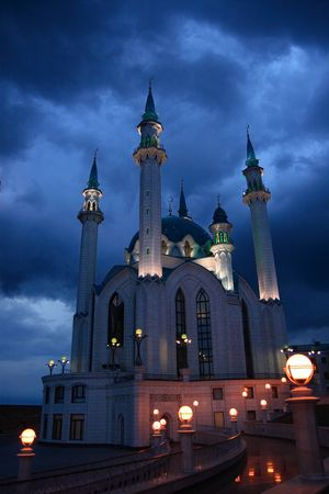 Kul Sharif mosque in the night on dark clouds background.