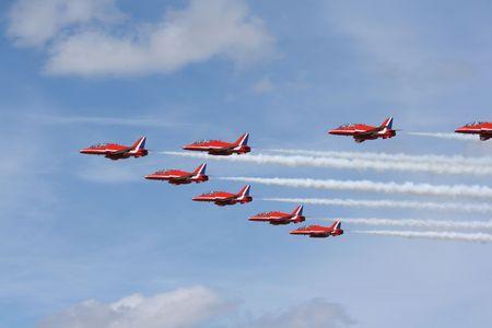British aerobatic team in close formation.