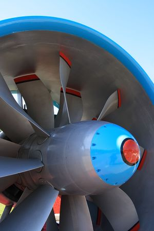 Fan stage of dual-flow turbojet engine. Stock Photo