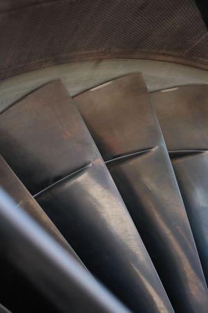 Detail of jet engine compressor first stage.