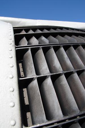 are thrust: Thrust reverser of jet engine.  Stock Photo