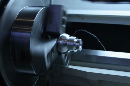 Workpiece in rotating jaw chuck.  Banque d'images