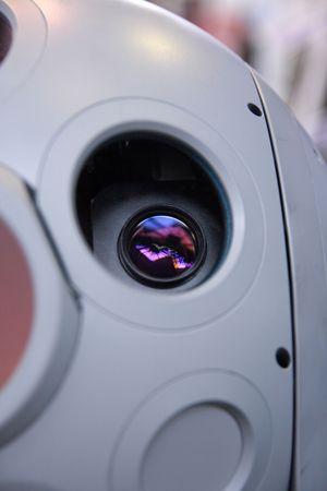 Lens of optical sensor in gyrostabilized platform.