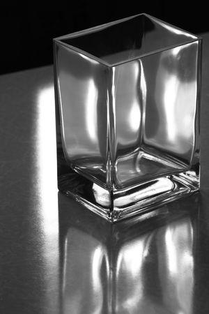 Square glass tumbler. Stock Photo