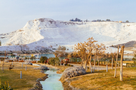 View of River Leading to the White Travertine Mountain of Pamukkale, Turkey