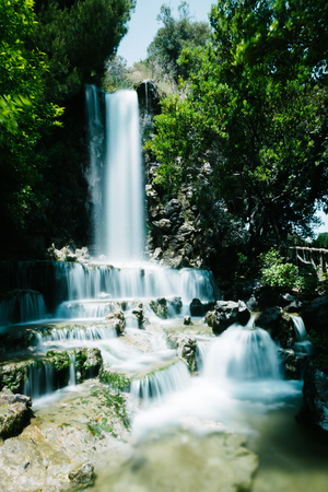 Waterfall in Villetta Di Negro, a park in the city of Genoa, Italy Reklamní fotografie