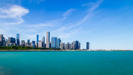 Skyline of Chicago over Lake Michigan