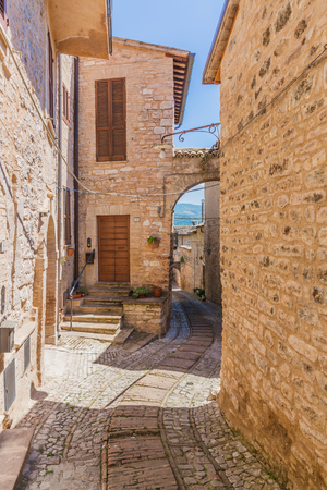 Street and houses of the ancient town of Spello, Italy