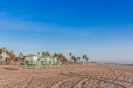 Lifeguard Houses on Venice Beach, in Los Angeles, USA 写真素材