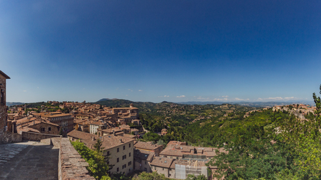 Panoramic view of the town and surrounding landscape of Perugia, Italy