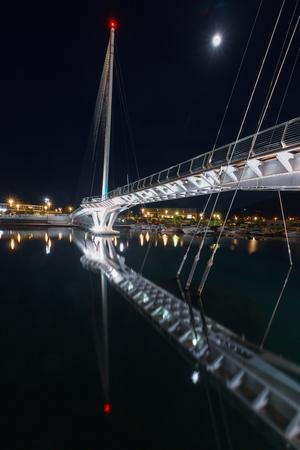 The Thaon di Revel bridge at night in La Spezia, near Cinque Terre, Italy Stok Fotoğraf