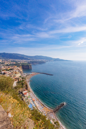 View of landscape and the Gulf of Naples, near Mount Vesuvius, in Southern Italy