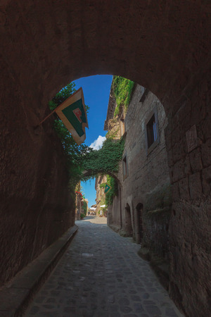 Street and houses of Civita di Bagnoregio, the dying city, in Italy Stock Photo