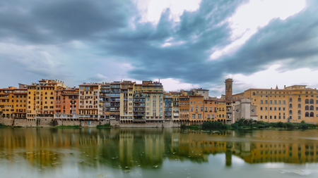 Renaissance houses over the Arno river in Florence, Italy