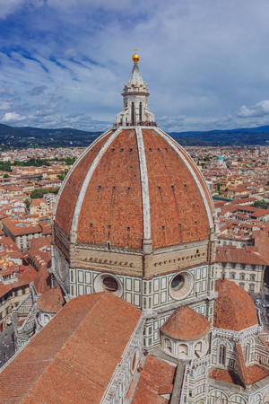 Florence Cathedral and the historic center of Florence, Italy viewed from Giotto's Bell Tower