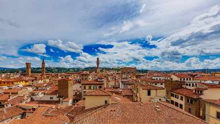 View of the historic center of Florence, Italy from Giotto's Bell Tower
