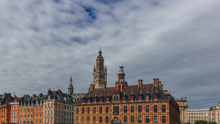 View of  buildings, in downtown Lille, France Stock Photo