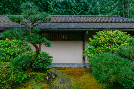 View of traditional house among trees at Portland Japanese Garden, Portland, USA