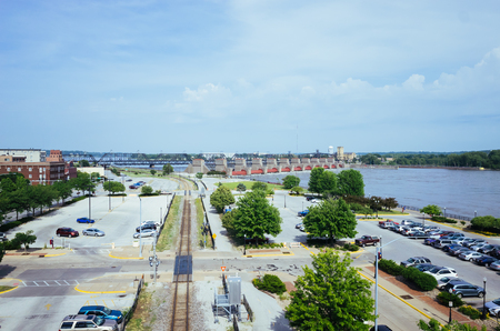 View of parking lots, tran track, and Mississippi River, in Davenport, Iowa, USA Editorial