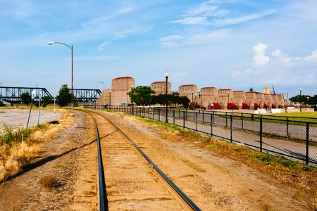 View of train track and hydroelectricity plants over Mississippi River in Davenport, Iowa, USA