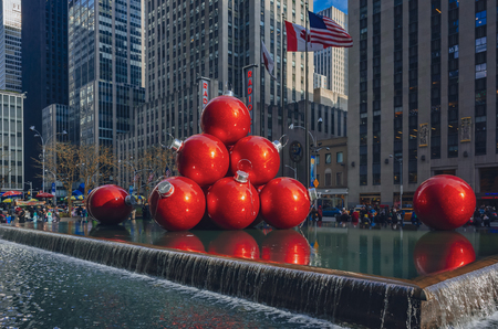 New York City, USA - Jan. 2, 2016: Giant Christmas balls installation in fountain on 6th avenue in Manhattan
