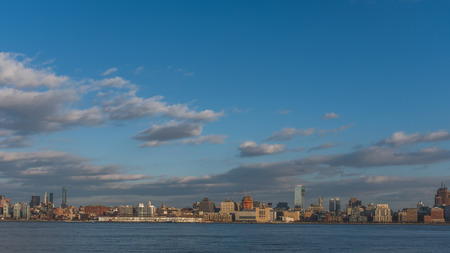 Skyline of midtown  Manhattan of New York City, over Hudson River, viewed from New Jersey, USA 写真素材