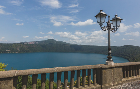 View of Lake Albano from the town of Castel Gandolfo, in the Albano Hills, south of Rome, Italy