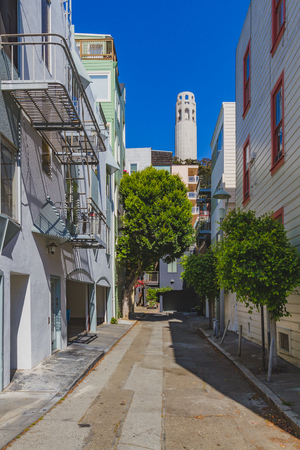 Street between local houses with Coit Tower in background under blue sky in San Francisco, USA Standard-Bild - 123157159