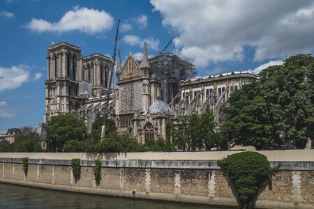 June 14, 2019 - Paris, France: Notre Dame under restoration and reconstruction after the fire of April 2019