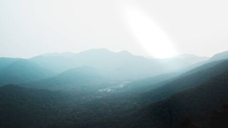 Panoramic view of valleys and hills from top of Beigao Peak in Hangzhou, Zhejiang, China