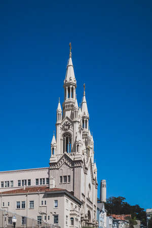 Tower of Saints Peter and Paul Church in downtown San Francisco, California, USA Stock Photo