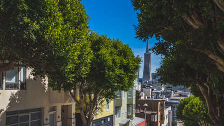 View of houses and city centre from Telegraph Hill in San Francisco, California, USA Stock fotó