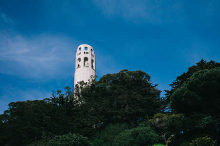 View of Coit Tower on Telegraph Hill in San Francisco, California, USA