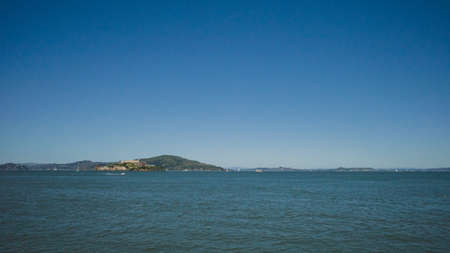 View of San Francisco Bay and Alcatraz Island in San Francisco, California, USA