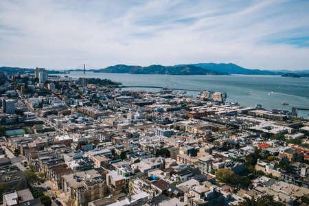 Houses and view of San Francisco Bay in San Francisco, California, USA Stock fotó