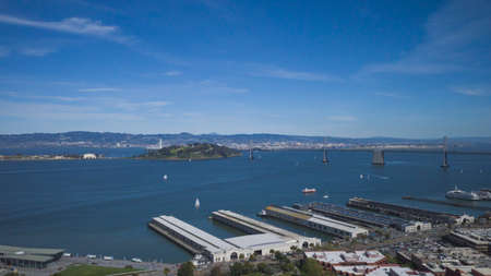 View of piers and San Francisco Bay in San Francisco, California, USA Stock fotó