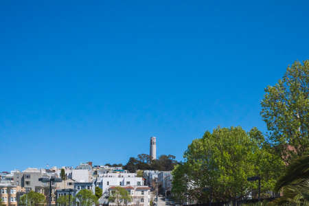 Coit tower on top of Telegraph Hill in San Francisco, California, USA