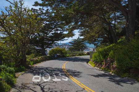 Empty road on Telegraph Hill in San Francisco, California, USA
