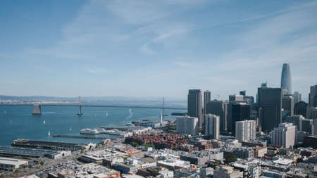 View of city centre and San Francisco Bay in San Francisco, California, USA
