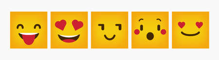 Design Reaction Square Flat Emoticon Set