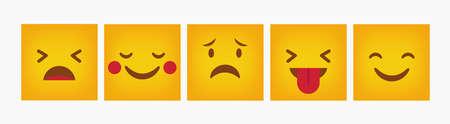 Emoticon Design Reaction Square Set - Vector