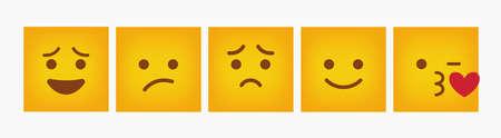 Emoticon Reaction Square Design Set - Vector Stock Illustratie