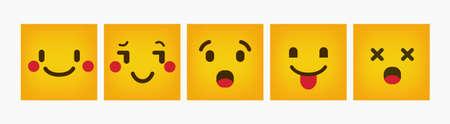 Emoticon Design Reaction Square Flat Set
